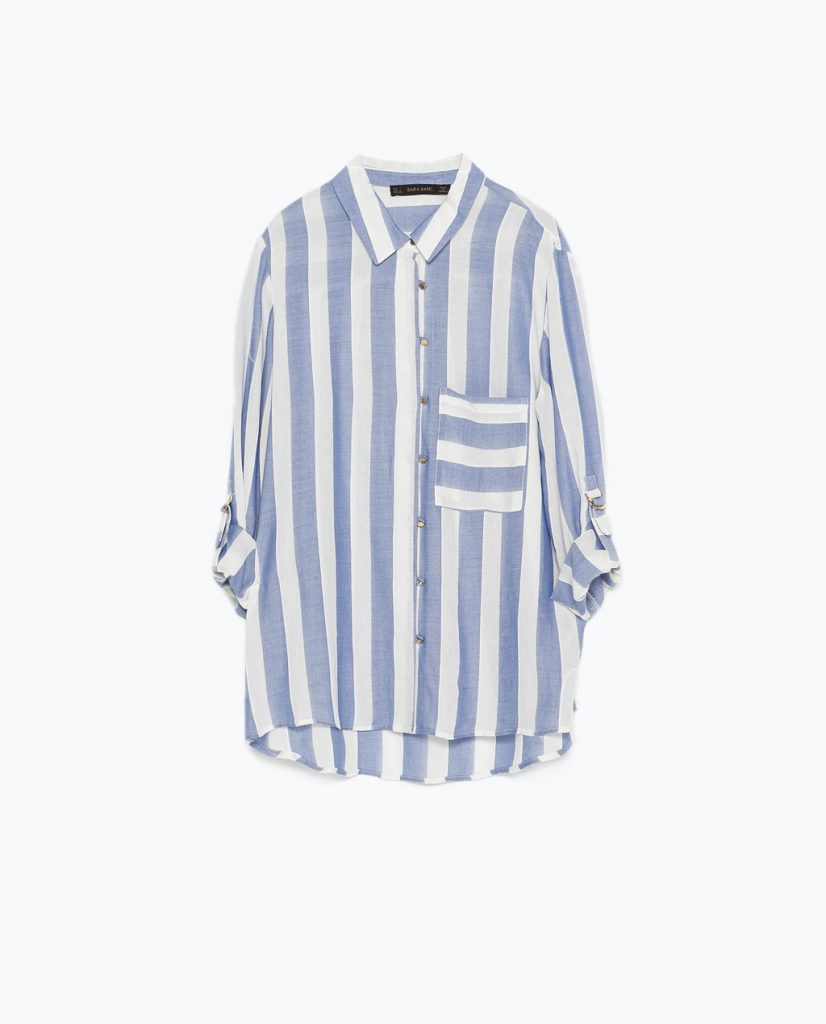 Camisa a rayas azules y blancas
