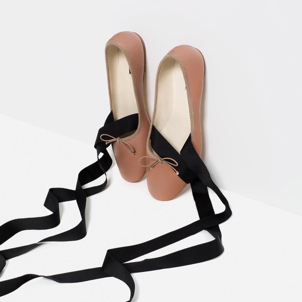 Bailarinas Zara rosas y lazos negros