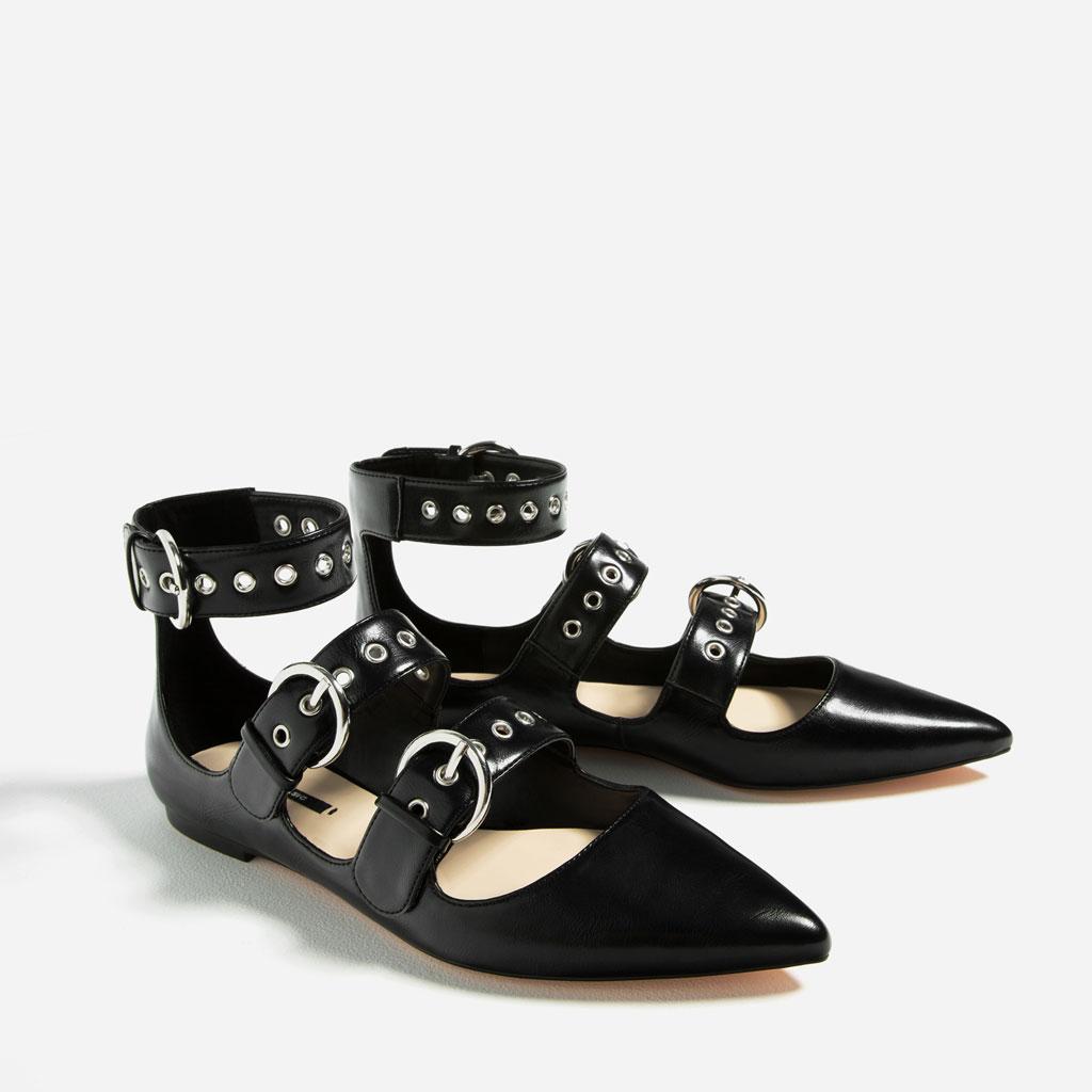 Zara bailarinas negras tachas